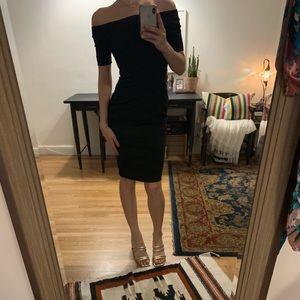 Off the shoulder tight black dress